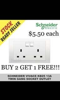 BUY 2 GET 1 FREE!!! Schneider Vivace KB25 Twin Gang Switched Socket.