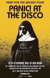 LOOKING FOR PANIC!AT THE DISCO LOWER BOX A TICKETS