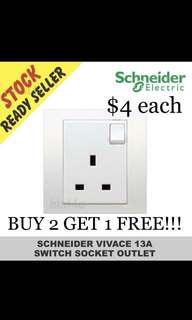 BUY 2 GET 1 FREE!!! Schneider Vivace KB15 Single Switched Socket.