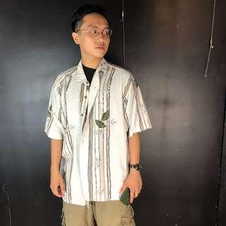 🚚 古著淺卡其線條+樹葉短袖夏威夷襯衫