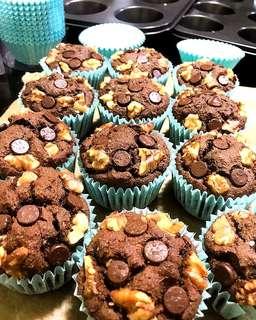 VEGAN Double Chocolate Zuchinni Muffins