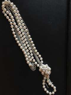 Aldo Pearl Tri-Chain Necklace