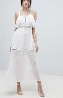 ASOS Lioness Embroidered White Maxi Dress