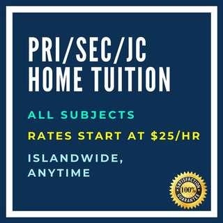 Maths/Chinese/English/Science/Chemistry/Physics Primary/Secondary/JC Home tuition