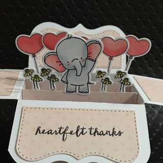 Handmade thank you box card