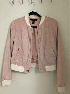 Pink suede bomber jacket