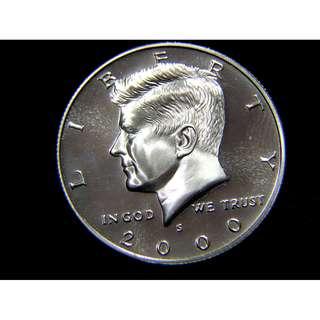 2000年美國故總統甘迺迪像大鷹國徽1/2圓(Dollar)鎳幣(精鑄版,S標記)