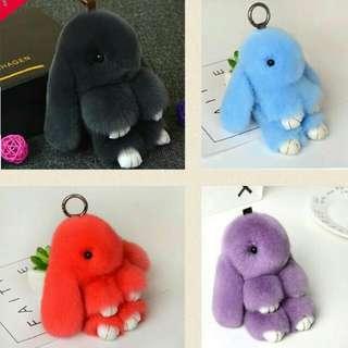 puffy /fluffy rabbit keychain