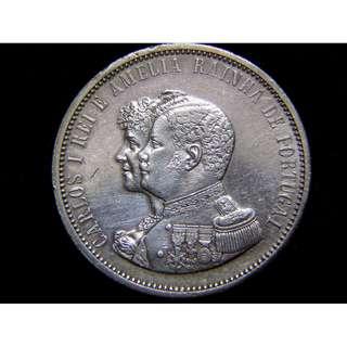 1898年葡萄牙帝國慶發現印度500週年十字徽1000厘士(Silver Reis)紀念大銀幣(葡皇加路士一世及皇后阿美妮亞像)