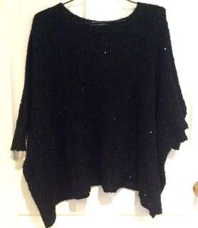 Black sparkly oversized knit