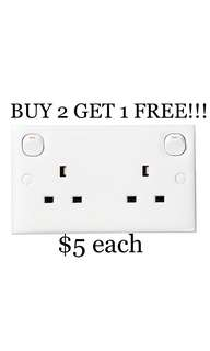 BUY 2 GET 1 FREE!!! Schneider Clipsal E25R Two Gang Switched Socket.