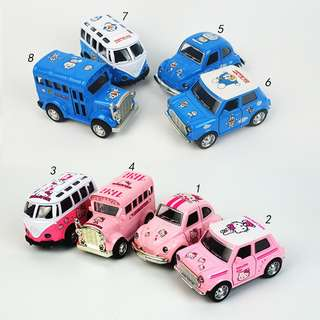 4sets Kids Gifts Hello Kitty Doraemon Classic Musical Lighting Bus Beetle Flash Car