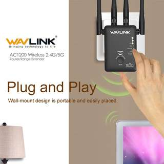 🚚 ⭐️AC1200 2.4G 5G dual band high gain wavlink WiFi extender WiFi repeater