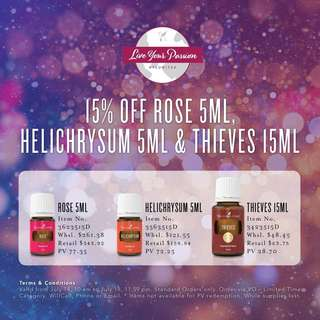 15% OFF Rose, Thieves and Helichrysum Essential Oils