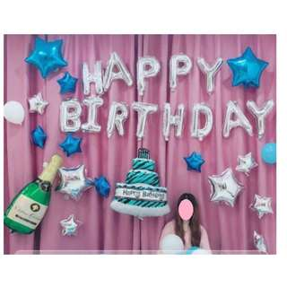 🚚 (In Stock)Blue Star Party Decoration Set-Happy Birthday