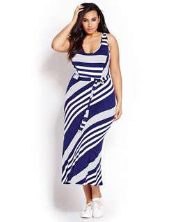 Stripped Blue and White Dress