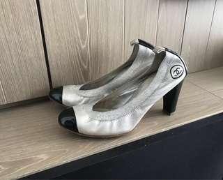 Chanel metallic black two tones high heel shoes 高踭鞋