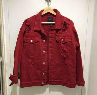 RED DENIM DISTRESSED JACKET