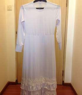 Gamis putih for girls + bergo