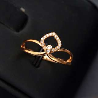 18K Solid AU750 Gold 17 pcs  Diamond ring