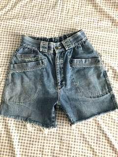 90年代BLUE WAY古著高腰牛仔短褲
