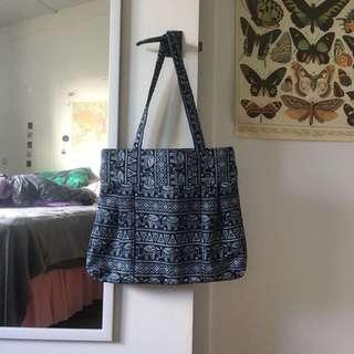 Navy Elephant and Patterned Handbag