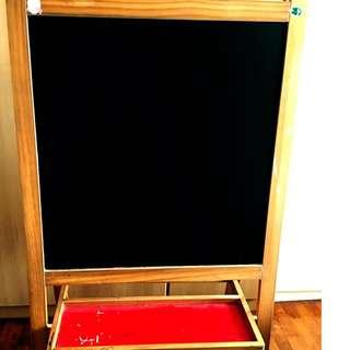chalk board and white board