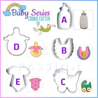 👶🏼 5PCS BABY CUTTER MOLD TOOL [Bottle • Pacifier • Bib • Onesie • Romper • Pram • Stroller]  Cake Decorating Tool for Cookies • Fondant Cake & Cupcake • Bread Dough • Pastry • Sugar Craft • Jelly • Gum Paste • Polymer Clay Art Craft •