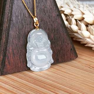 Icy A-Grade Type A Natural Jadeite Jade Little Smiling Buddha Pendant (20k Yellow Gold Oval Bail) No.170471