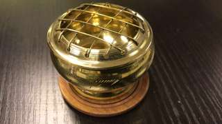 Brass incense burner with wood base (small)