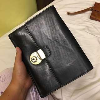 Leather clutch bag organizer organiser folio