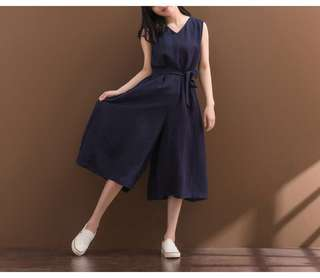 新🐧文青 連身闊腿裙褲 寬鬆顯瘦百搭