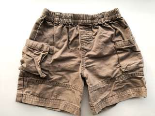 PRELOVED Boy's Khaki Brown Cotton Short Pants - in very good condition