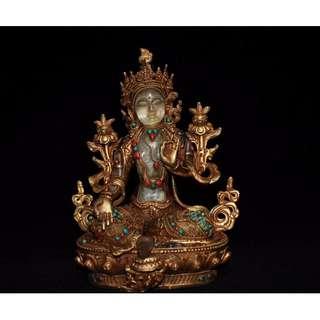 尼泊爾純手工打造 純銅鎏金鑲嵌水晶寶石綠度母 密宗佛像 供養品