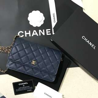 CHANEL WOC Navy Caviar Gold Hardware