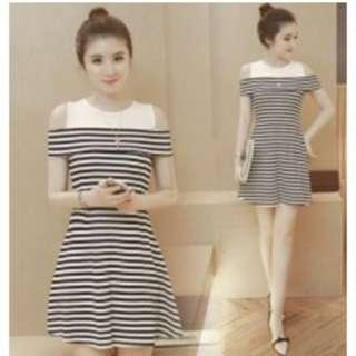 GrabMee Korean Stripe Fashion Dress