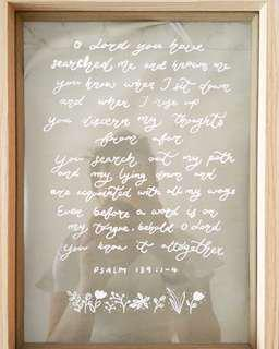 Calligraphy on glass frame