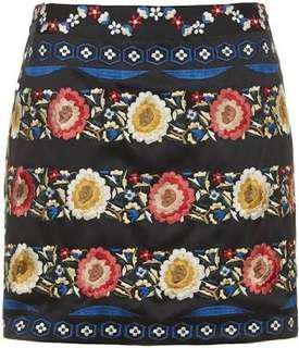 TOPSHOP floral embroidered skirt