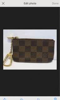 Authentic Louis Vuitton key pouch in Damier leather for keys and coins