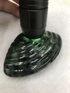 Type A Jadeite dark green Carved mussel hand play