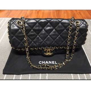 AUTHENTIC Chanel Handbag VERIFIED AUTHENTIC RARE CHANEL BLACK QUILTED LEATHER CHAIN ME CHANEL HANDBAG CHANEL MURAH CHEAP CHANEL BAGS
