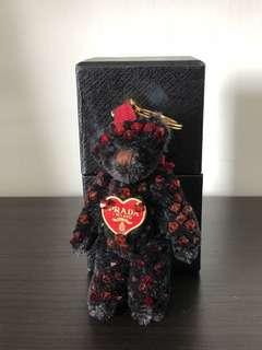 Prada Black Key Ring / Bag Accessory Teddy Bear in 100% Mohair