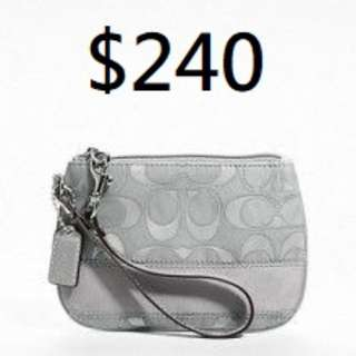 COACH SIGNATURE STRIPE OUTLINE C SATEEN SMALL WRISTLET