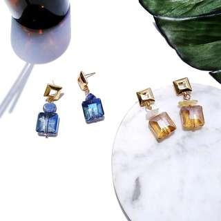 現貨天然石幾何方形彩色水晶耳針耳環/可改耳夾 3色