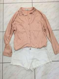 韓版 蜜桃粉 燈芯絨 襯衫 外套