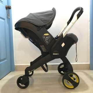 🚚 Doona Infant Car Seat (Storm Grey) + ISOFIX Base