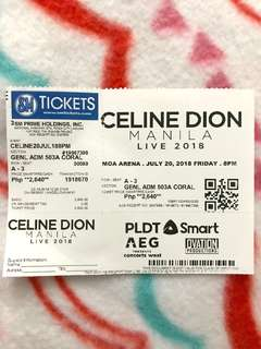 (1) one ticket to Celine Dion LIVE in Manila 2018