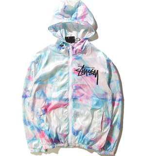 Stussy cotton candy tie dye festival windbreaker jacket