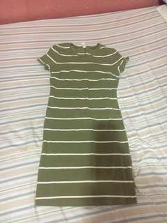 Old Navy Olive Green Stripes Dress