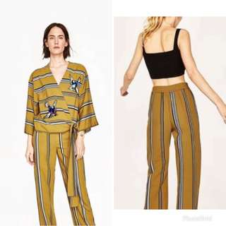 (One Set) ZARA Set Wear Mustard Yellow Stripes Top with Embroidered Sequins and Mustard Yellow Striped Palazzo Wide Leg Pants / Trousers
